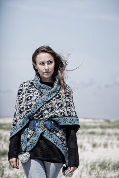 Christel Seyfarth Roses and Thornes shawl blue