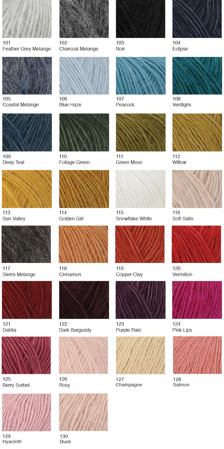 Rowan Alpaca classic yarn line de Afstap shadecard