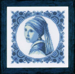 girl with the pearl cross stitch