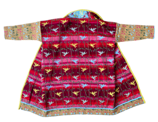 BEACH BIRD COAT - RED/MUSTARD christel seyfarth
