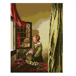 Jan Vermeer - Lady Reading A Letter borduurstramien