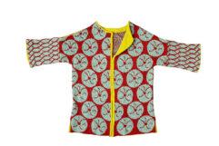 Christel Seyfarth Aquarius Coat rood/limoen - breipakket de afstap amsterdam